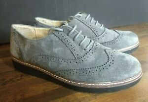 Exquily Grey suede brogues Women uk size 8 Worn Once Faux Suede Grey Casual Flat