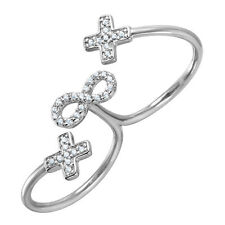 925 STERLING SILVER CROSSES & INFINITY DOUBLE FINGER RING W/ DIAMONDS/STUNNING!