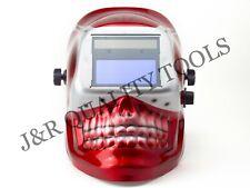 Migtig Auto Darkening Welding Helmet Red Skull Shape Design Extra Large Lens