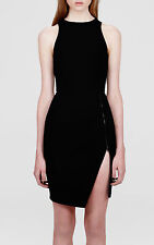 DION LEE BLACK ZIP FRONT DRESS AUS 10 UK 10