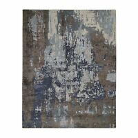"8'x10'4"" Blue Abstract Design Wool and Silk Hand Knotted Oriental Rug G48585"