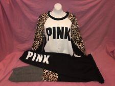 Victoria's Secret Pink Leopard Crew Pullover Sweatshirt Campus Pant Set L XL Nrw