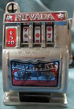 "Nevada Slot Machine Still Coin Piggy Bank With Working Lever ""Buckaroo Bank"""