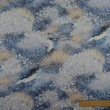 Cotton Fabric Sew Quilt Blue Beige White Water Pond Garden Grass - BTY