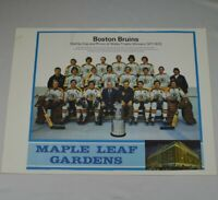 "Export ""A""  Maple Leaf Gardens Calendar Page Boston Bruins Champions 1971 - 1972"