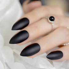 STILETTO Sharp Pen MATTE *BLACK* Full Cover Press On 24 Nail Tips + Glue! m1