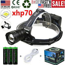 Powerful XHP70 LED Headlamp Zoom USB Rechargeable Headlight Torch Light Lamp