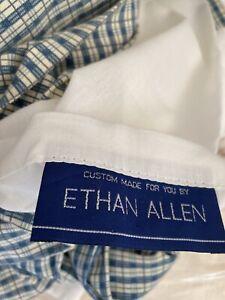 "ethan allen Custom Made King  Bed Skirt Dust Ruffle Blue Beige Plaid 16"" Drop"