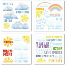 SUNNY WEATHER Rub-Ons SWATCH PACK scrapbooking clouds rainbow sun raindrops