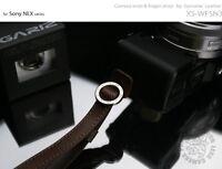 GARIZ Leather Wrist Finger Strap Dark Brown XS-WFSN3 M43 Sony NEX Lumis Olympus