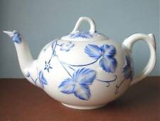 Minton Victoria Strawberry Blue Teapot Embossed Vine Motif Made in England New
