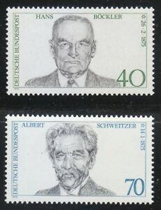 Germany 1975 MNH Mi 830,832 Sc 1159-1160 Bockler & Albert Schweitzer.Medical