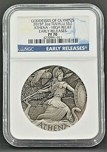 2015 TUVALU $2 2oz Goddesses Of Olympus ATHENA High Relief NGC PF70