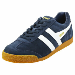 Gola Harrier Mens Navy White Suede Casual Trainers