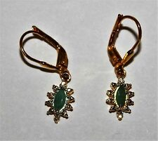 Genuine Emerald & Diamond Accent Hoop Earrings 18K Gold / Sterling Silver