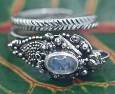 Sterling Silver .925 Bali Snake/Dragon Wrap Ring w Rainbow Moonstone Adjustable.