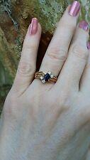 14K YG Oval Blue Sapphire Round Diamond Accent Ring sz 6.25 Tru-Glo September