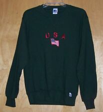 USA Patriotic Embroidered  Olive Army Green Sweatshirt Adult Small NWT