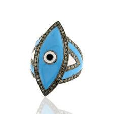 Natural Pave Diamond Polki 925 Sterling Silver Enamel Ring Voctorian Jewelry