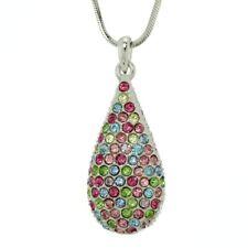 W Swarovski Crystal Tear Drop Love Multicolor New Pendant Necklace