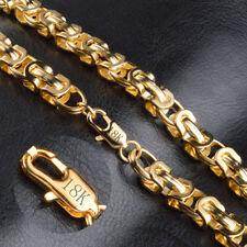 18k Goldkette Massiv Panzerkette vergoldet 9MM Königskette Halskette 40cm 39€