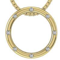 SI1 G 0.30 Ct Natural Diamond Circle Pendant Necklace 14K White Yellow Rose Gold