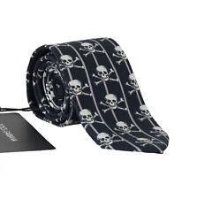 NEW $200 DOLCE & GABBANA Tie Blue 100% Silk Skull Striped Print Classic Necktie