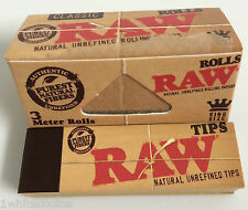 RAW Paper Rolls 3m & Raw 50 Roach Tips Combo Deal Smoking Rolling Rips Filters