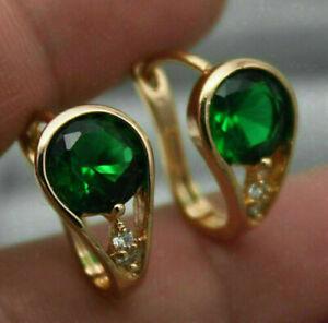 2.50Ct Round Cut Green Emerald & Diamond Dangle Earrings 14K Yellow Gold Finish