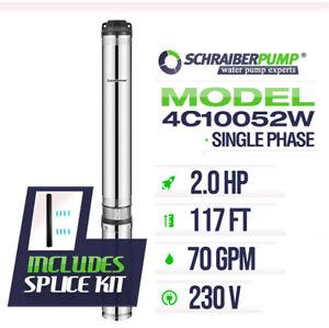 """SCHRAIBERPUMP 4"""" Deep Well Submersible Pump 2HP 230v 117ft 70GPM 63maxPSI 2wire"""