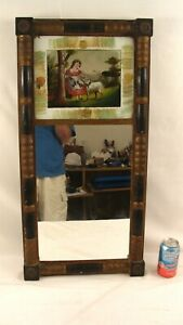 Antique 1840 Federal Reverse Painted Girl & Lamb Wall Mirror