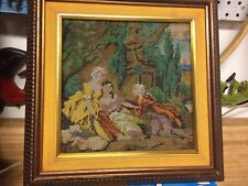 Vintage Beaded Victorian Wall Art Picture French Courtiers