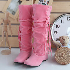 New Women Winter Warm Snow Boot Suede Tassel Mid-calf Boots Flat Shoes Jackboots