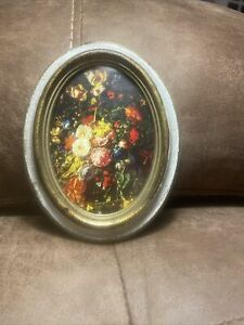 ITALIAN OVAL VICTORIAN FLOWER PICTURE TRADEMARK MADE IN ITALY