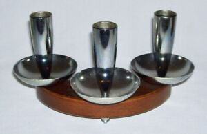 MILBERN CREATIONS ~ Vintage MCM Triple Chrome CANDLEHOLDER on Curved Wood Base