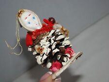 "Vintage Japan Pine Cone Plastic Face Elf Christmas Tree Ornament 2 1/2"""