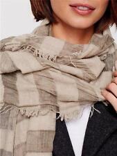 "BNWT Eileen Fisher Wool Modal Cashmere ALMOND Striped Scarf Wrap ITALY 70"" X 28"""