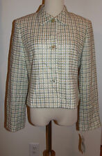 New Rena Rowan Sz 10 Button-Front Jacket Tweed Plaid Lined Long Sleeve Blazer
