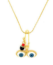 "14kt GP Eyes Saint Lucky Charm & 18"" Necklace Ojitos De Santa Lucia Azabache"