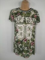 WOMENS H&M FLORAL GREEN LONG SHORT SLEEVE CREW NECK SHIRT TSHIRT SIZE UK 6 XS