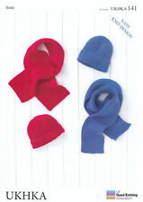 Aran Yarn Knitting Pattern UKHKA 141 for Easy Knit Kids Childrens Hats & Scarves
