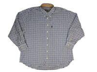 Barbour Mens Shirt XL Check Button Front Long Sleeve Cotton White Blue
