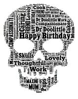 Personalised SKULL word art a4 gift typography birthday