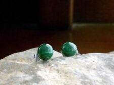 Malachit Ohrstecker Ohrringe Tiny Dots 5 mm 925 Sterling Silber Grün gemasert