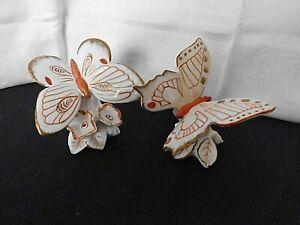 """zwei Porz. Schmetterlinge, bemalt, """" Karl ENS """", Thüringen , rot / Gold"""