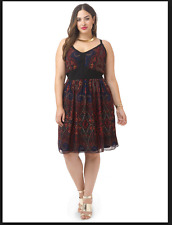 NEW CITY CHIC BLACK PAISLEY ROSE SUNDRESS DRESS PLUS SIZE XS 14