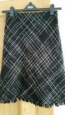 M&S Black Wool mix Check Skirt with white diamond pattern size 10 Lined 24""