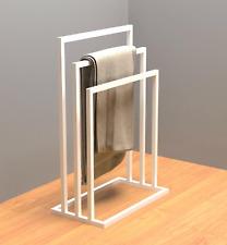 Industrial Minimalist Powder Coated Matte White Steel Freestanding Towel Rail