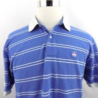 Brooks Brothers 346 Men's Large Blue Striped Chest Logo S/S Casual Polo Shirt