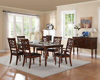 BANNER 7 piece Traditional Cherry Brown Dining Room Set Rectangular Table Chairs